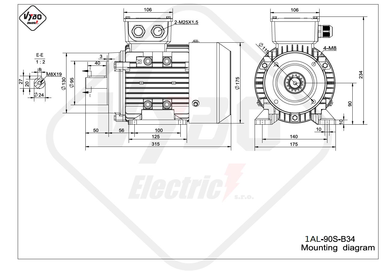 rozmerový výkres elektromotor 1AL 90S B34