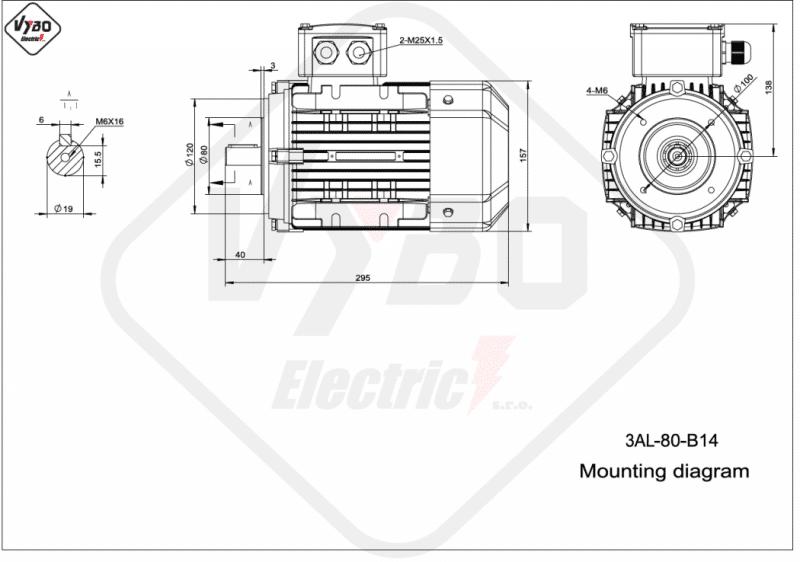 rozmerový výkres elektromotor 0,75kw 3AL80M1-2 B14