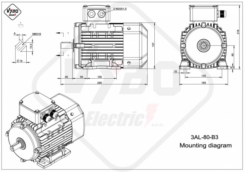 rozmerový výkres elektromotor 0,75kw 3AL80M1-2 B3