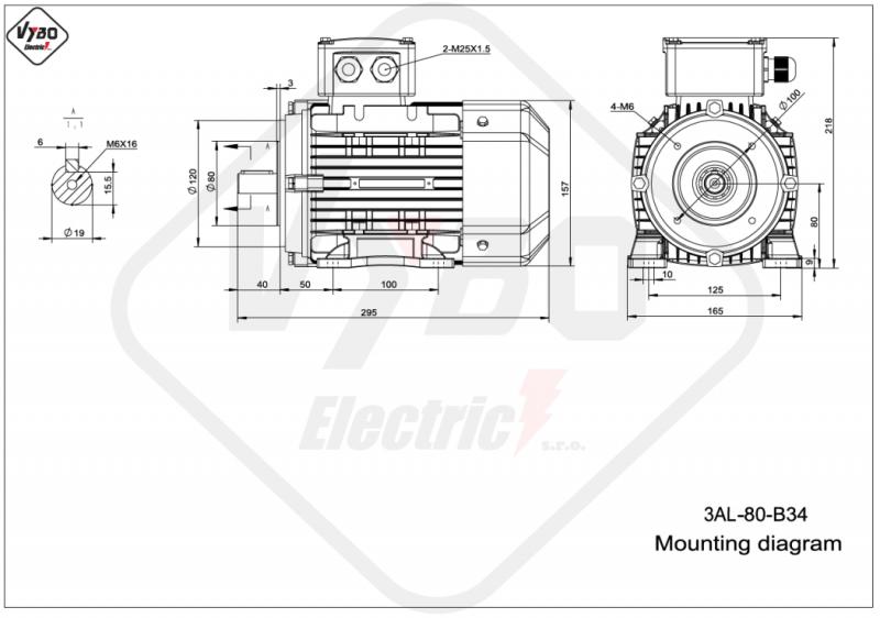 rozmerový výkres elektromotor 0,75kw 3AL80M1-2 B34