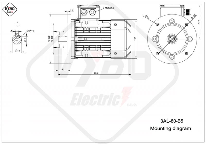 rozmerový výkres elektromotor 0,75kw 3AL80M1-2 B5